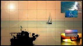 在海边分裂屏幕的假日 股票录像