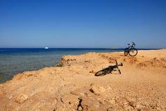 在海边的两辆自行车 免版税库存照片