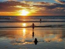在海边的日落 免版税库存图片