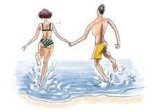 在海边节假日的夫妇 库存照片
