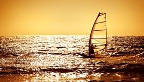 在海运剪影日落风帆冲浪者 免版税库存图片