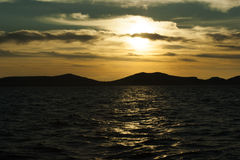 在海运日落的亚得里亚 库存照片