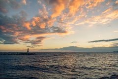 在海运日落 免版税库存图片