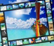 在海运热带海滩的Longtail小船 免版税库存照片