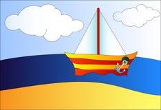 在海运的小船 向量例证