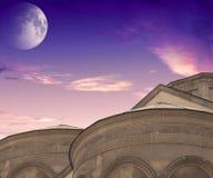 在海运的蚀月球月亮 美丽的天空 库存图片