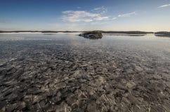在海运somethere塔林附近的波儿地克的爱沙尼亚 与海岛的冬天海景 库存照片