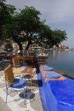 在海附近的咖啡馆 库存图片