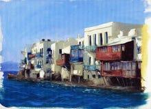 在海附近的老房子在海岛上米科诺斯岛,希腊6 免版税库存照片