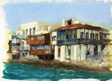 在海附近的老房子在海岛上米科诺斯岛,希腊7 免版税库存照片