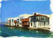 在海附近的老房子在海岛上米科诺斯岛,希腊8 免版税库存照片