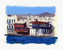在海附近的老房子在海岛上米科诺斯岛4 库存图片