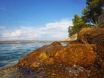 在海附近的金黄岩石 库存照片