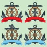 在海题材的象 Lifebuoy,船锚,方向盘,题字的蠕动的丝带 库存照片