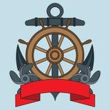 在海题材的象 Lifebuoy,船锚,方向盘,题字的蠕动的丝带 免版税库存图片