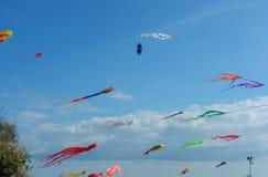 在海飞行的风筝在天空 免版税库存图片