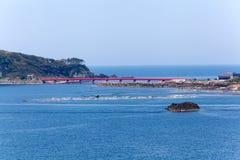 在海,日本的红色桥梁 免版税图库摄影