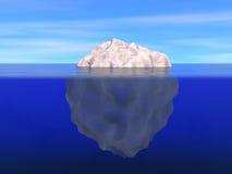 在海洋上下的水平的冰山 库存照片