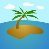 在海洋中间的热带海岛 免版税库存图片