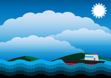 在海洋传染媒介例证的小船 免版税库存照片