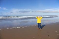 在海滩俄勒冈海岸的天 免版税图库摄影