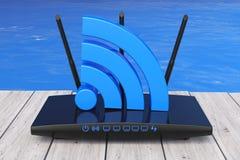 在海洋前面的无线Wi-Fi路由器 3d翻译 库存照片
