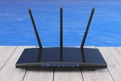 在海洋前面的无线Wi-Fi路由器 3d翻译 库存图片
