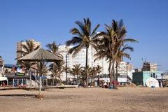 在海滩前面的空的海滩和棕榈树 免版税库存照片