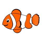 在海洋动物下的小丑鱼动画片传染媒介例证热带海洋生活题材例证导航例证逗人喜爱的桔子 免版税图库摄影