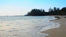 在海滩和天空的波浪 股票视频