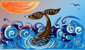 在海洋和橙色太阳的鲸鱼 图库摄影