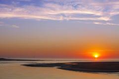 在海滩和海洋的日出Corson的入口的 免版税库存图片