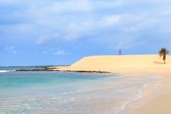 在海滩和海洋, Boavista,佛得角的美丽的景色 库存照片