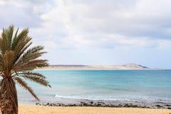 在海滩和海洋, Boavista,佛得角的美丽的景色 免版税库存照片
