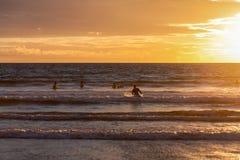 在海洋和serfer的日落 免版税图库摄影