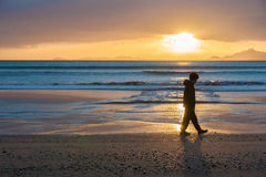在海滩外埔小海湾的日出 图库摄影