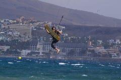 在海洋大加那利岛上的冲浪者2015年 图库摄影