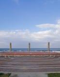 在海滩安置的圆形剧场地中海在海法 库存照片