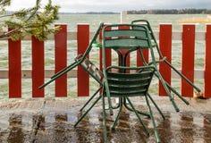 在海洋岸的湿大阳台 库存照片