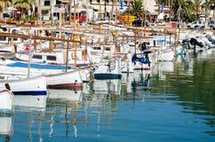 在海滨广场的渔船 库存图片
