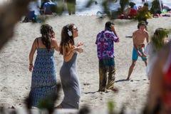 在海滩或静寂音乐会的沈默音乐会 免版税库存照片