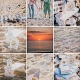 在海滩拼贴画的家庭野餐 库存图片