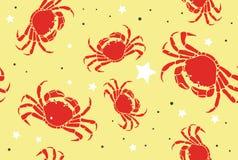 在海滩无缝的样式的螃蟹 皇族释放例证