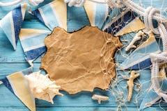 在海洋样式的明信片 Copyspace 免版税库存图片