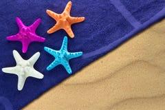 在海滩毛巾的海星 库存图片