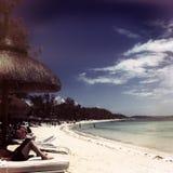 在海滩毛里求斯 免版税库存图片