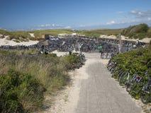 在海滩沙丘的自行车。 库存照片