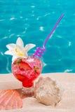 在海滩沙子的草莓鸡尾酒与贝壳 免版税库存照片