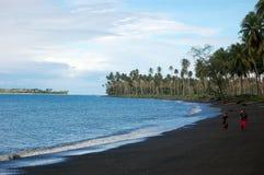 在海洋海滩的人步行 免版税库存图片