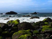 在海洋海滩的岩石 免版税图库摄影